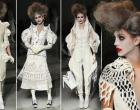 Glamour-fying!  A model walks the runway at Thom Browne Women's fashion show looking fabulously undead!