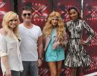 THE X FACTOR:  July 11, 2013 in Los Angeles, CA. L-R: Demi Lovato, Simon Cowell, Paulina Rubio and Kelly Rowland on the set of THE X FACTOR. CR: Ray Mickshaw / FOX. Copyright / FOX.